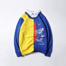 2 In 1 Sweatshirt mit Farbblock und Grafik Muster