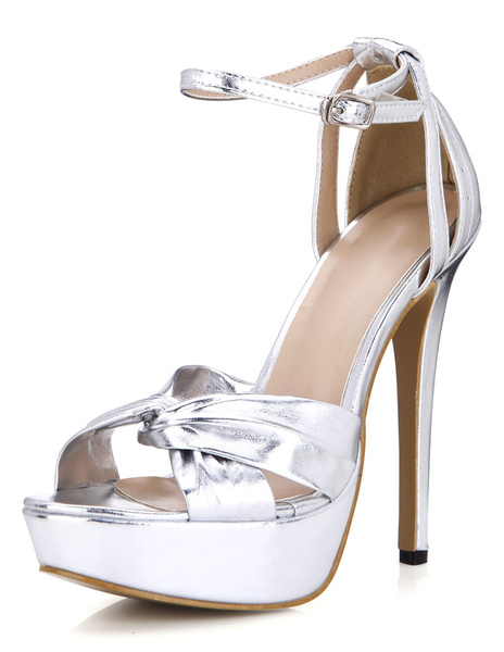 Milanoo Silver PU Platform Evening and Bridal Sandals
