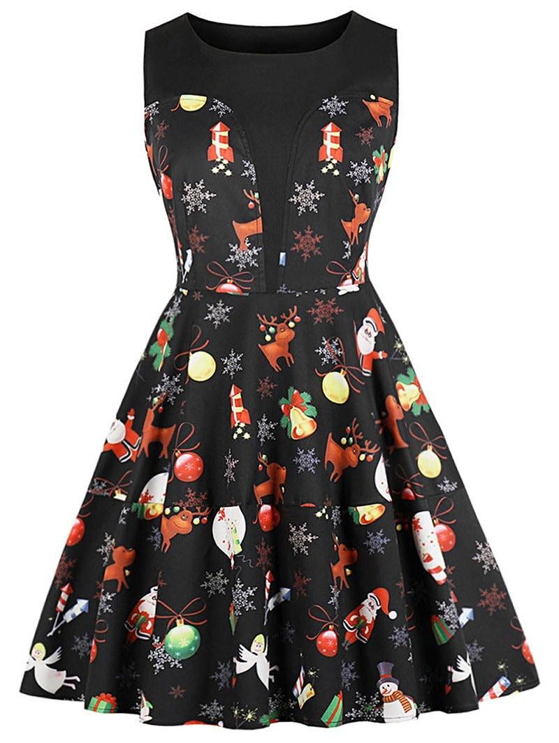 Round Neck Christmas Printed A Line Dress
