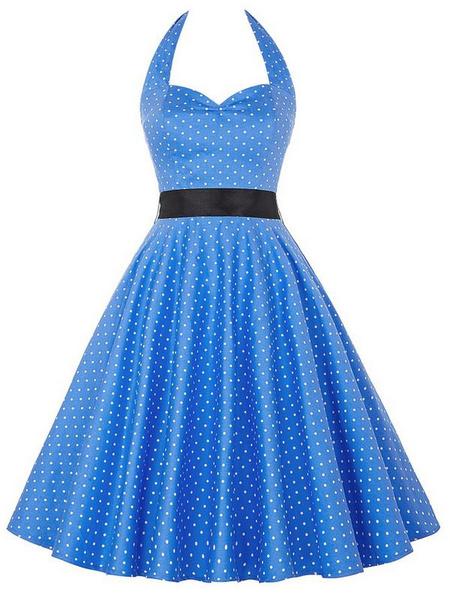 Milanoo Blue Vintage Dress Halter Sleeveless Polka Dot Deco Backless Pleated Flare Dress With Bow Tie