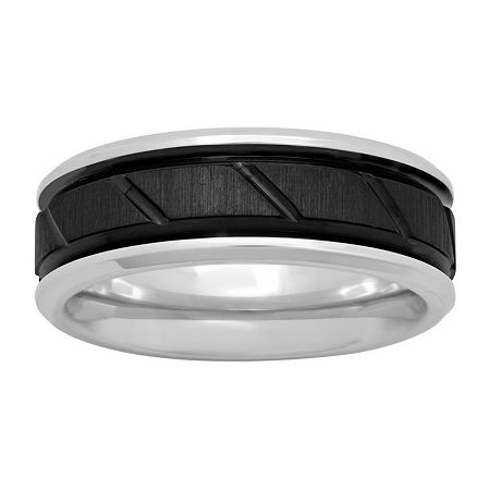 Mens Cobalt and Black IP with Slant Center 8mm Comfort Fit Wedding Band, 11 1/2 , No Color Family