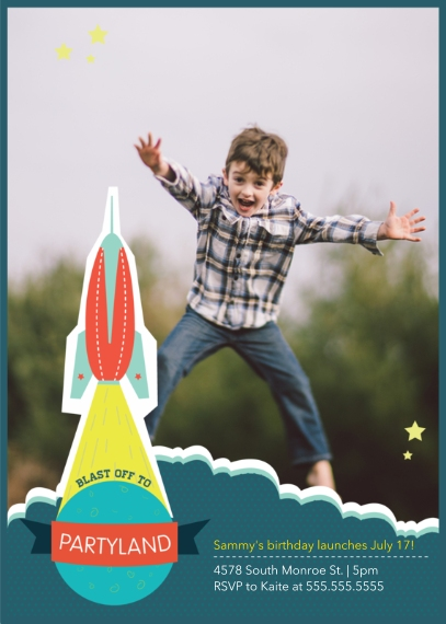 Kids Birthday Party Invites 5x7 Folded Cards, Premium Cardstock 120lb, Card & Stationery -Blast Off Birthday