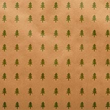 Kraft/Green Christmas Trees Gift Wrap - 24 X 417' - Gift Wrapping Paper by Paper Mart