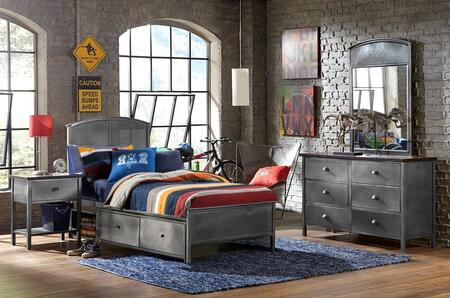 1265BTRPS4 Urban Quarters 4 PC Bedroom Set with Storage Bed + Dresser + Mirror + Nightstand in Black Steel with Antique Cherry