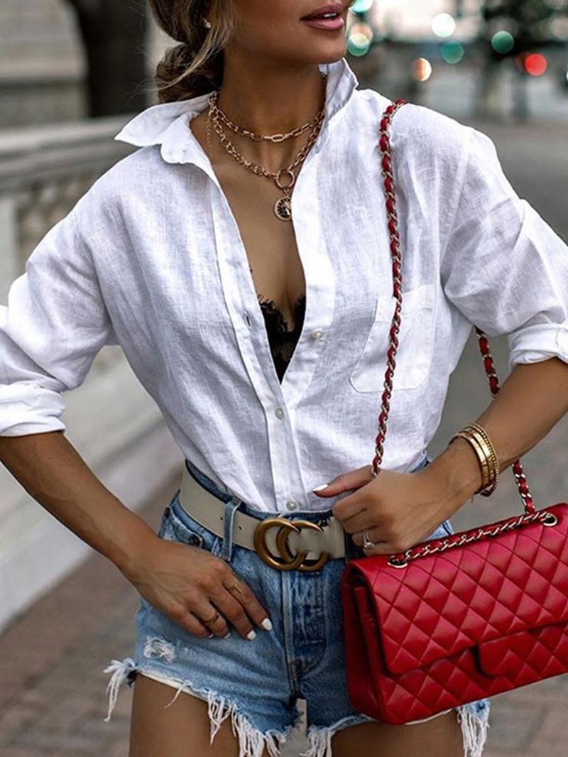 Ericdress Button Lapel Regular Standard Long Sleeve Blouse