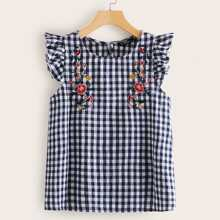 Ruffle Armhole Embroidery Detail Gingham Blouse