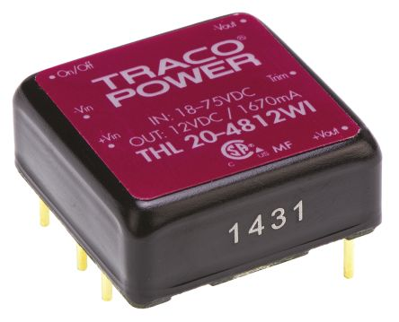 TRACOPOWER THL 20WI 20W Isolated DC-DC Converter Through Hole, Voltage in 18 → 75 V dc, Voltage out 12V dc