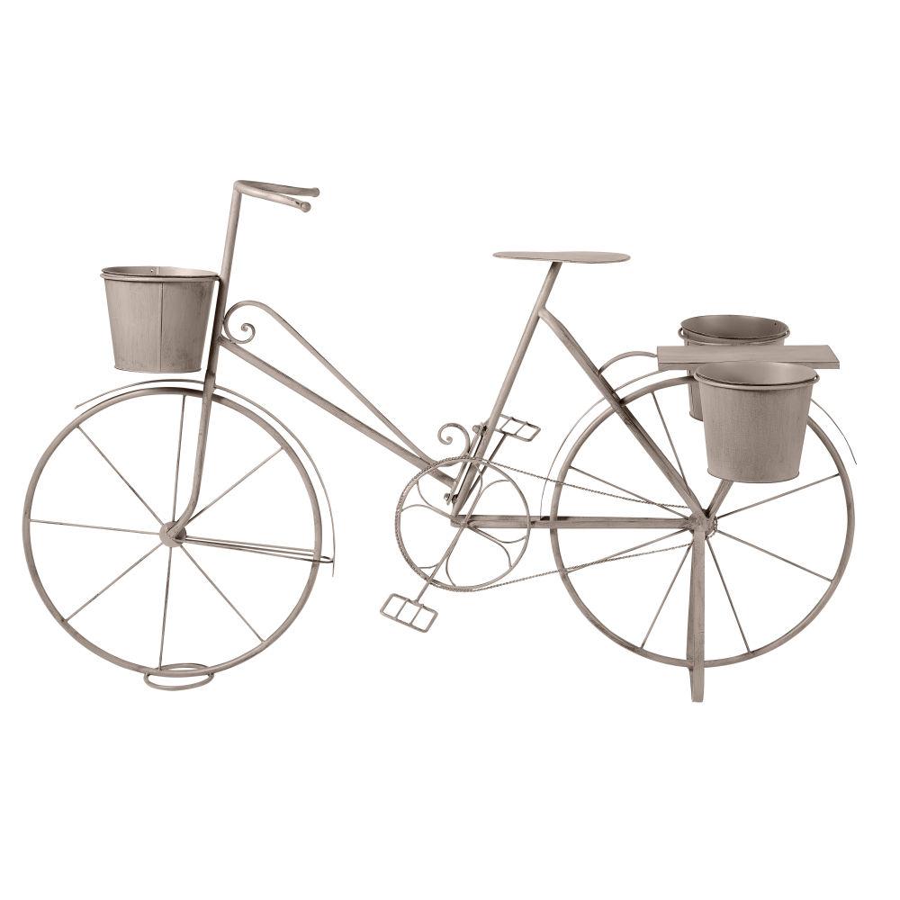 Blumenregal Fahrrad aus Metall, grau mit Alterungs-Effekt