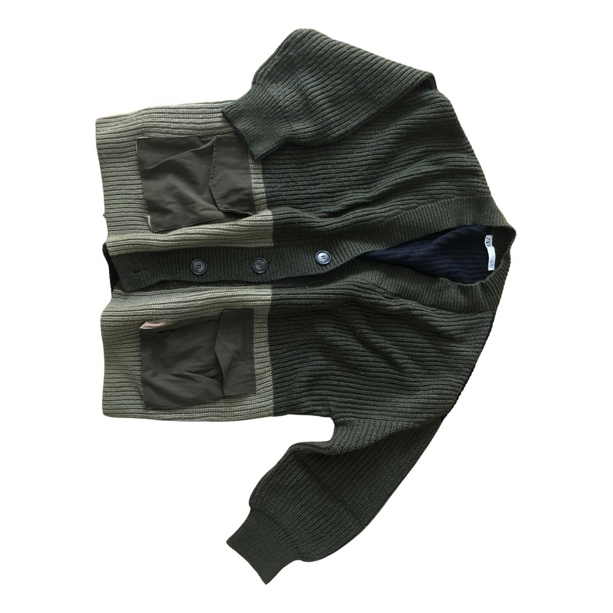 Zara - Pull   pour femme en laine - kaki