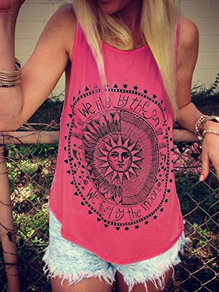 Yoins Pink Disk Letter Pattern Round Neck Tank Top