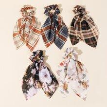 5pcs Floral & Plaid Pattern Scrunchie Scarf