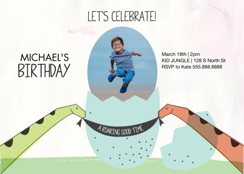 Kids Birthday Party Invites Mail-for-Me Premium 5x7 Folded Card , Card & Stationery -Dinosaur Egg Birthday