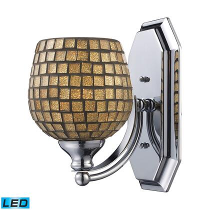 570-1N-GLD-LED 1 Light Vanity in Satin Nickel and Gold Mosaic Glass -
