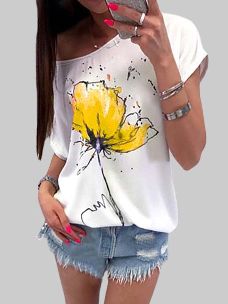 Flower Print Short Sleeve O-neck Casual T-shirt For Women