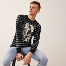 Men Striped Patched Letter Graphic Sweater