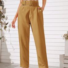 Solid Slant Pocket Straight Leg Belted Pants
