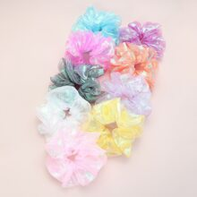 9pcs Girls Colorful Mesh Scrunchie