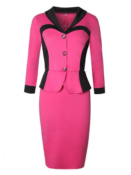 Milanoo Vestido ajustado de dos tonos falso de dos piezas para mujer