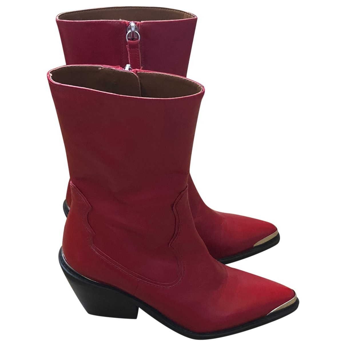 Zara \N Red Leather Boots for Women 37 EU