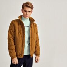 Einfarbiger Mantel mit hohem Kragen und Raglan Ärmeln