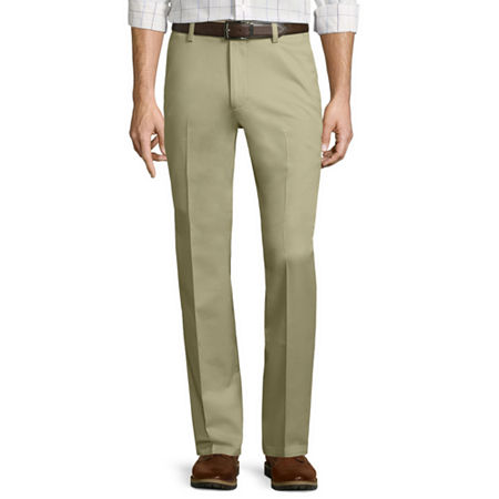 St. John's Bay Stretch Iron-Free Straight-Fit Flat-Front Pants, 38 34, Beige