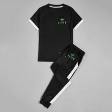 T-Shirt & Jogginghose mit Buchstaben und Grafik Muster