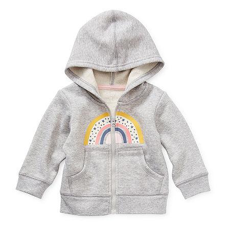 Okie Dokie Baby Girls Cuffed Sleeve Hoodie, 6 Months , Gray