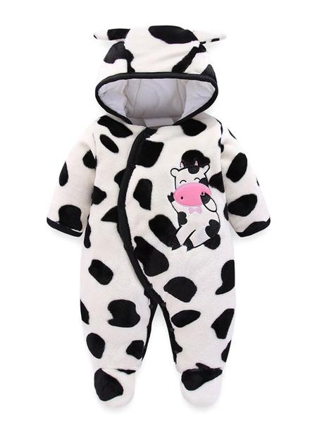 Milanoo Cow Onesie Pajamas Kigurumi Toddler Flannel Jumpsuit