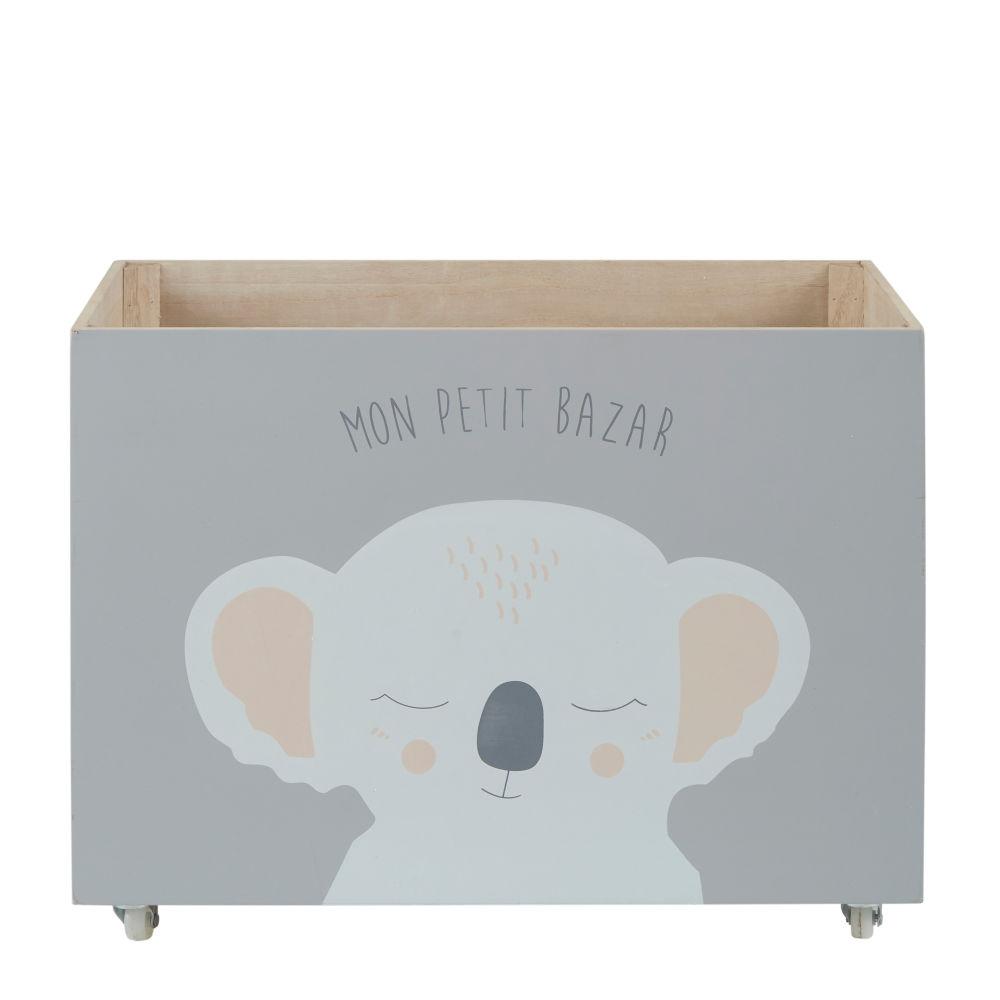 Spielzeugbox mit Rollen, grau mit Koala-Aufdruck