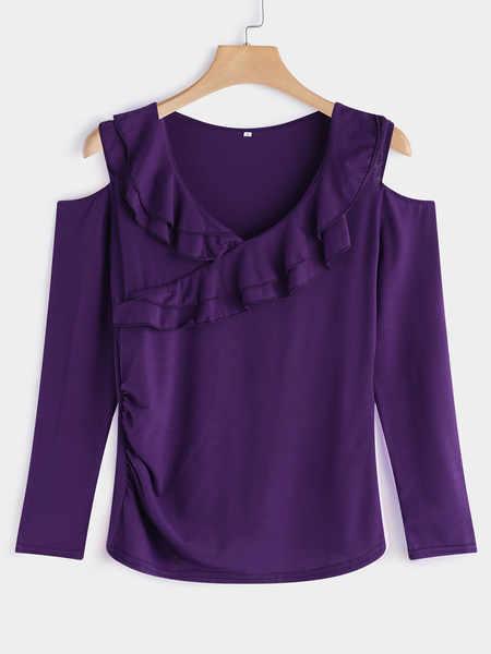 Yoins Purple Tiered Flounced Details Crossed Front Cold Shoulder Long Sleeves T-shirt