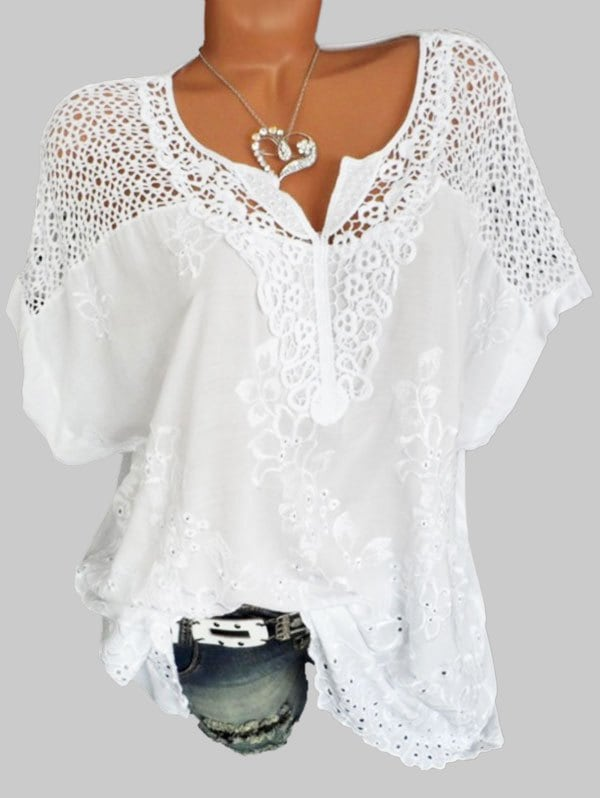 Plus Size Hollow Out Flower Embroidered Blouse