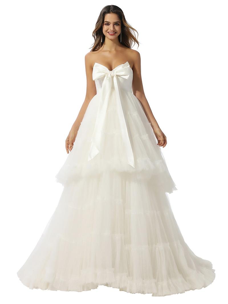 Ericdress Sweep/Brush Floor-Length Strapless Ball Gown Garden/Outdoor Wedding Dress 2020