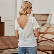 Lace Trim V- Cut Back Solid Tee