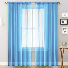 1pc Solid Sheer Curtain