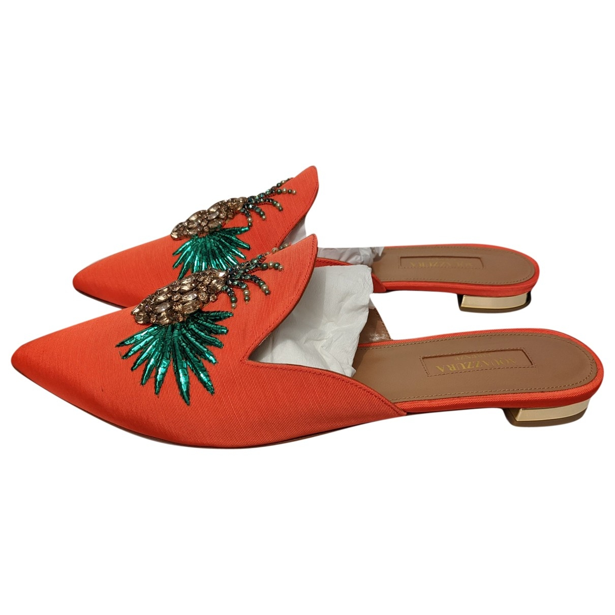 Aquazzura - Sandales Powder Puff pour femme en toile - orange