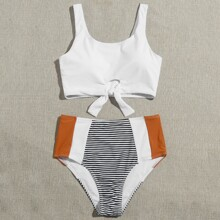 Striped Knot Hem High Waisted Bikini Swimsuit