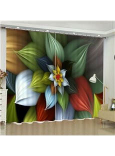 3D Flowers Printed Wonderful and Creative Style 2 Pieces Custom Curtain for Living Room