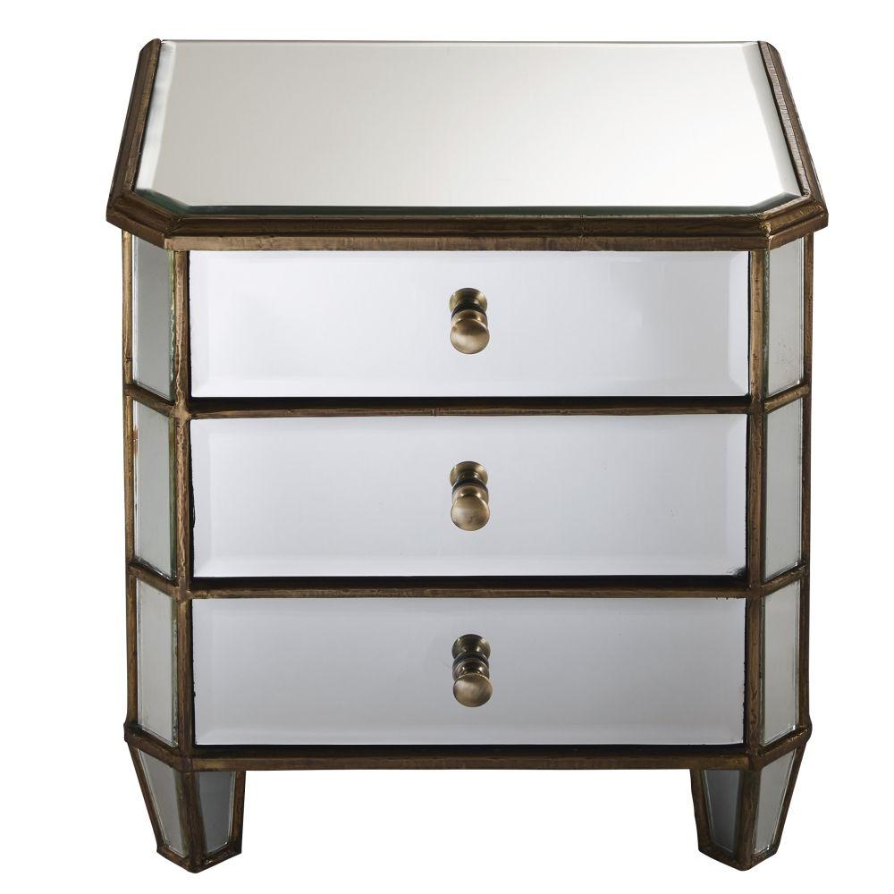 Nachttisch mit 3 Schubladen aus Metall und Spiegelglas Athenee