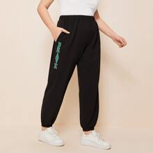 Plus Letter Graphic Pants
