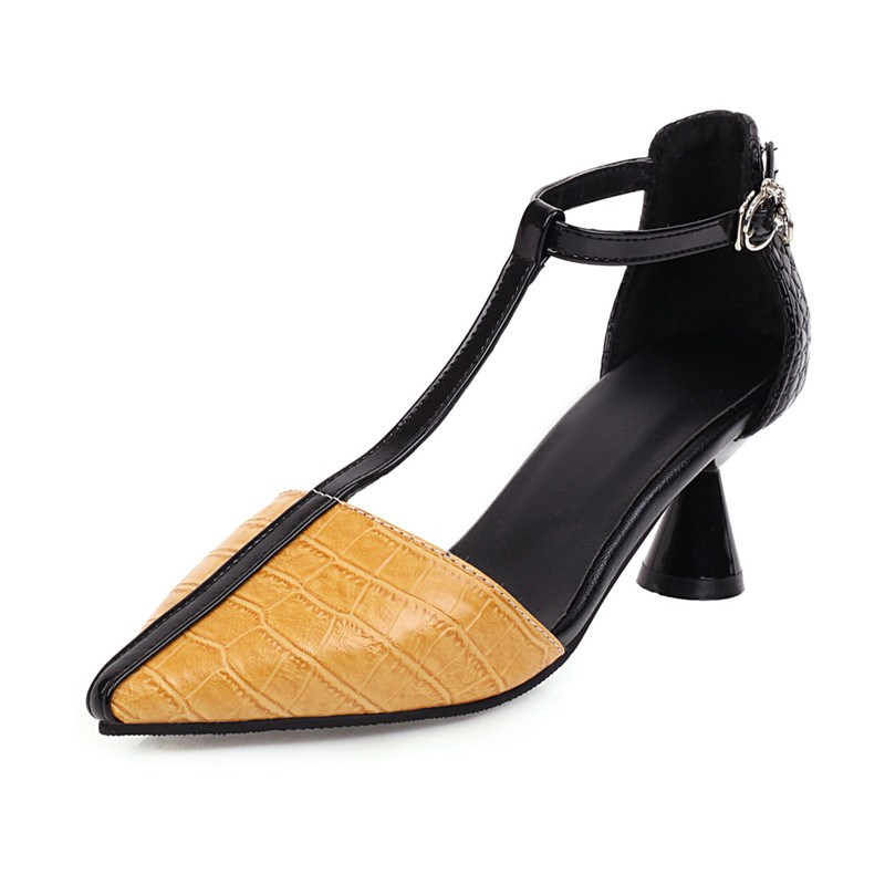 Ericdress Pointed Toe Heel Covering T-Shaped Buckle Patchwork Sandals