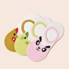 3pairs Cartoon Graphic Invisible Socks