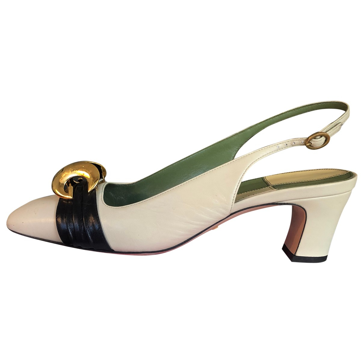 Gucci N Ecru Leather Heels for Women 40 IT