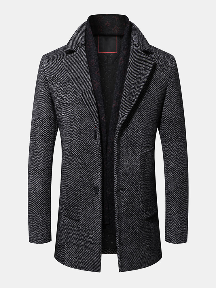 Mens Woolen Single-Breasted Flat Collar Business Overcoats With Scarf