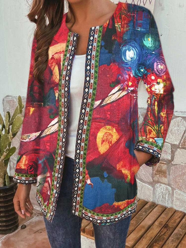 Cosmic Sky Print Webbing Long Sleeve Plus Size Jackets