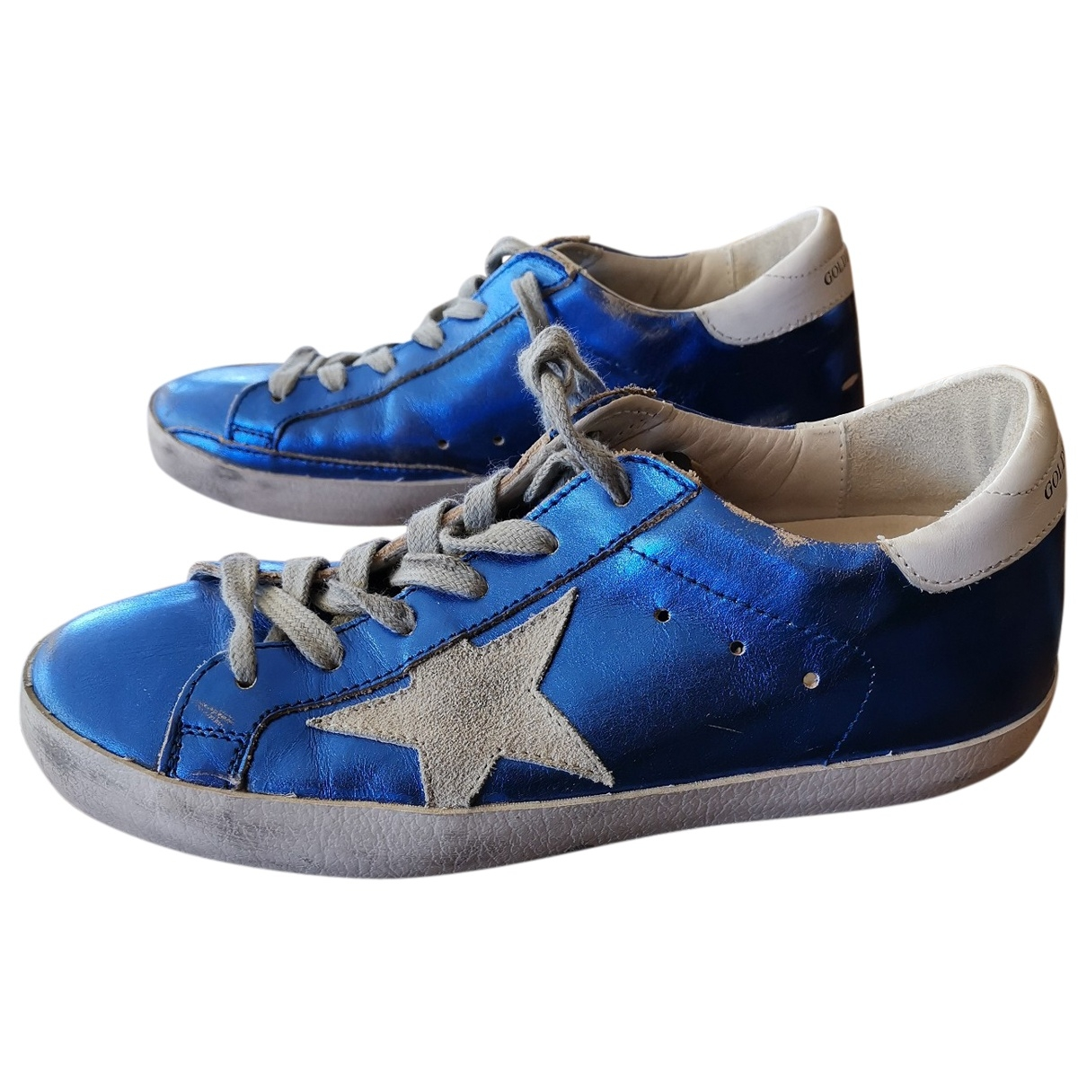 Golden Goose Superstar Sneakers in  Blau Leder