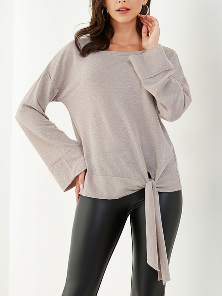YOINS Apricot Knotted Design Round Neck Knit Top