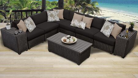 Venice Collection VENICE-09a-BLACK 9-Piece Patio Set 09a with 1 Corner Chair   5 Armless Chair   2 Cup Table   1 Coffee Table - Wheat and Black