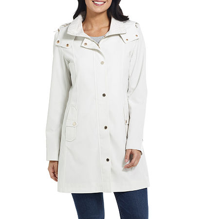 Miss Gallery Water Resistant Lightweight Raincoat, Large , Gray