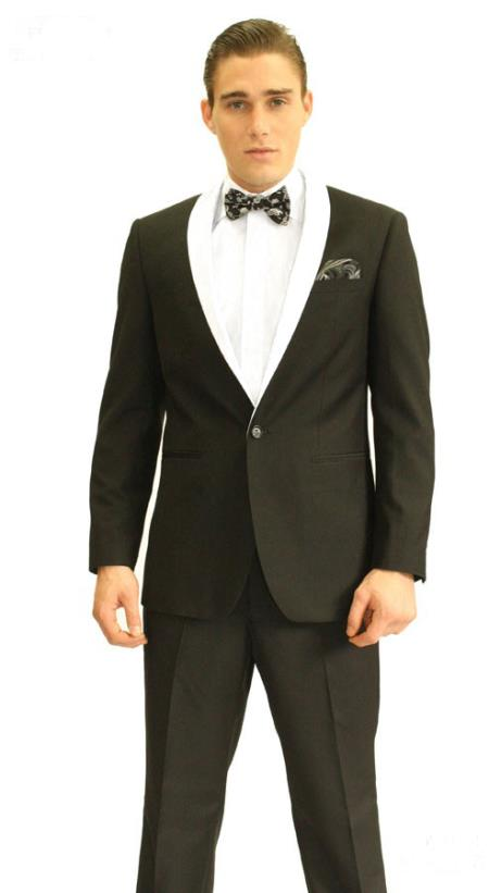 Single Button Black And White Shawl Lapel Tuxedo Suit Dinner Jacket