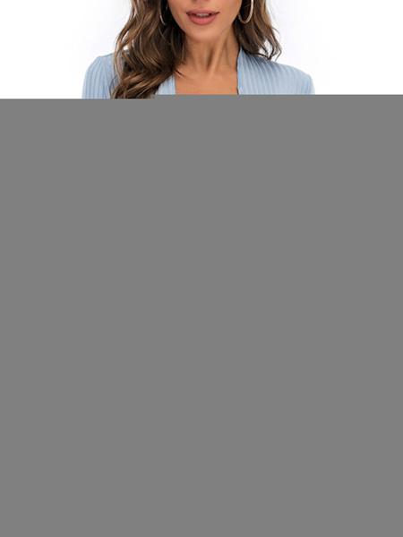 Milanoo Camisetas de manga larga para mujer Camiseta de mujer de color solido de poliester con cuello en V azul cielo claro